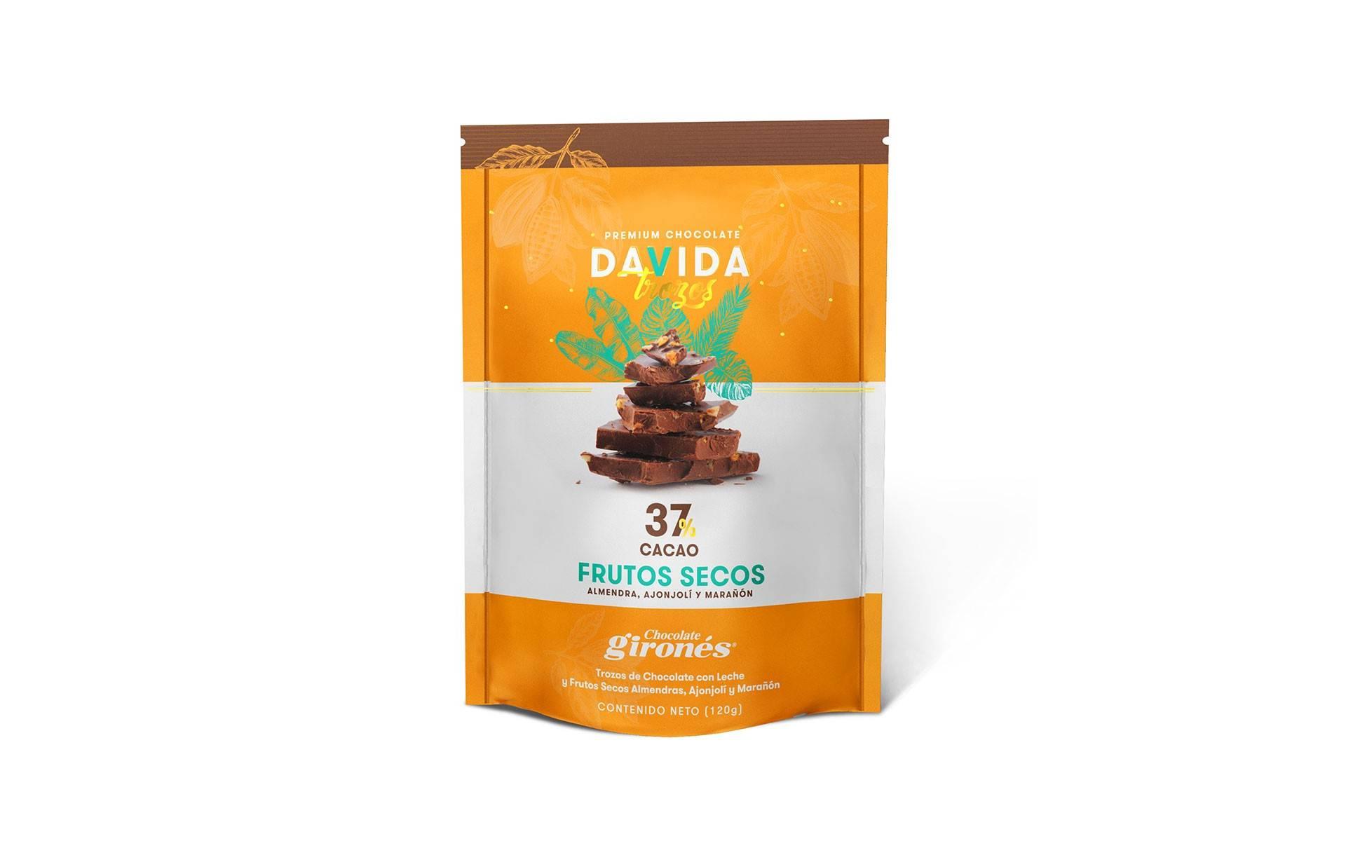Trozos Frutos secos 37% cacao DAVIDA