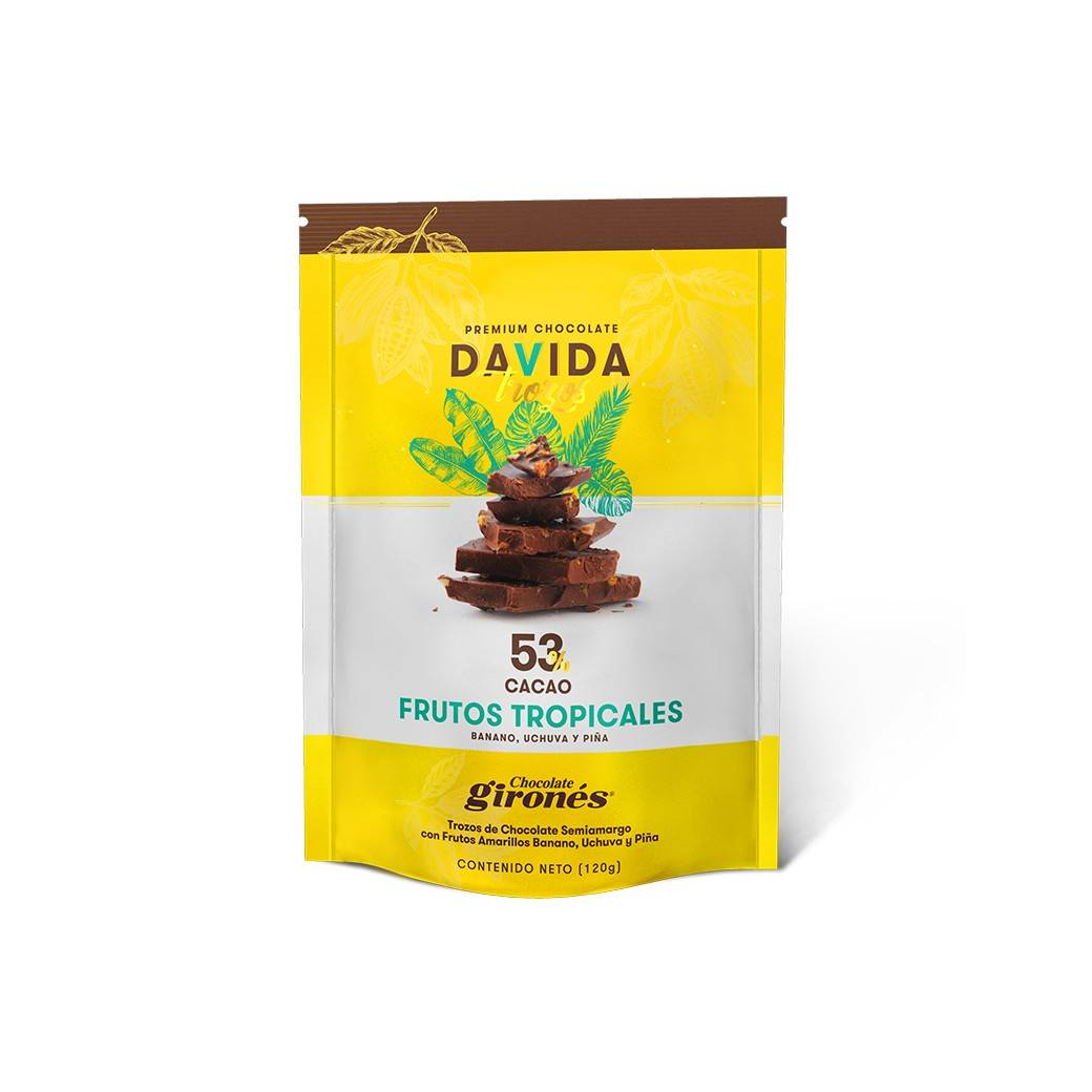 Trozos Frutos Tropicales 53% cacao DAVIDA