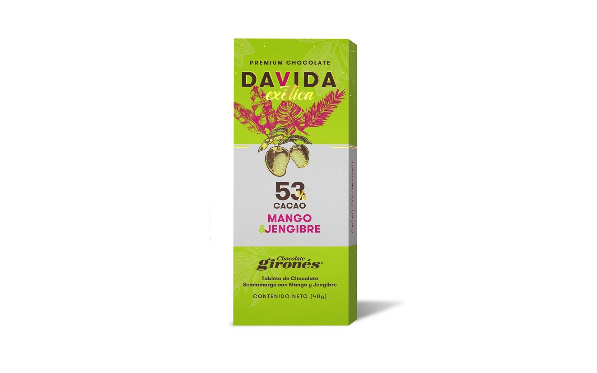 Barra Mango y Jengibre 53% cacao DAVIDA