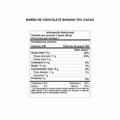 Información Nutricional Barra Banano 70% cacao DAVIDA