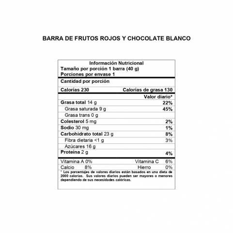 Información Nutricional Barra Frutos Rojos y Chocolate Blanco DAVIDA