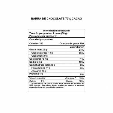 Información Nutricional Barra 70% cacao DAVIDA