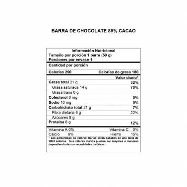 Información Nutricional Barra 85% cacao DAVIDA