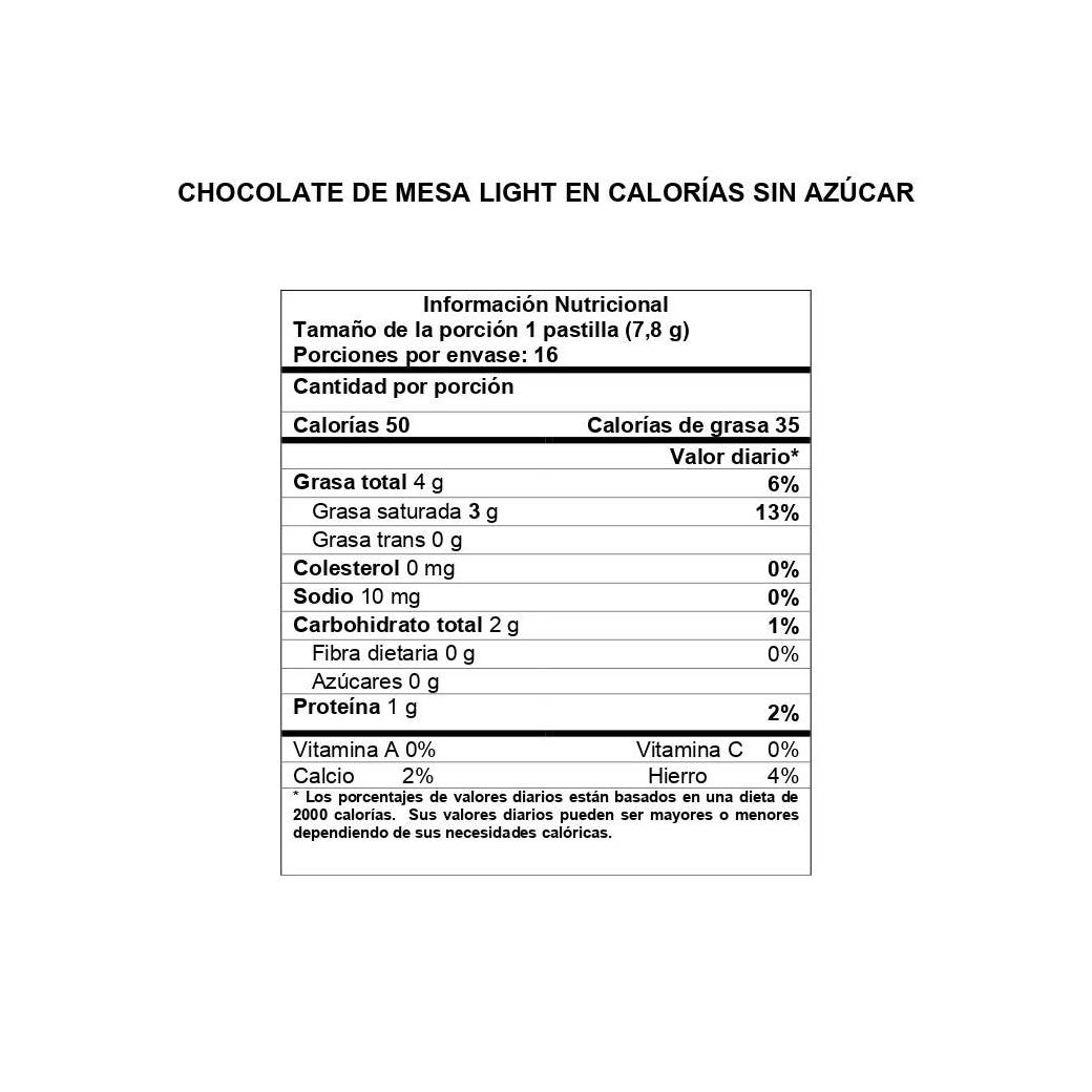 Información Nutricional Chocolate de Mesa Light sin Azúcar Girones
