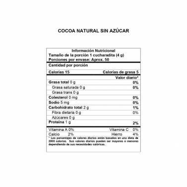 Información Nutricional Cocoa Natural sin Azúcar Girones